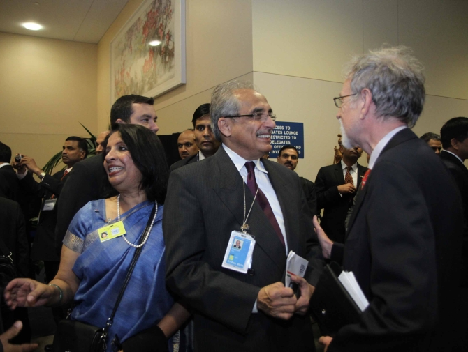 Indian Ambassador to the US Nirupama Roa (left) at the UN headquarters
