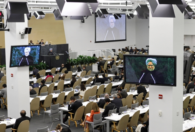 Dr Singh address is televisied at the UN headquarters in New York