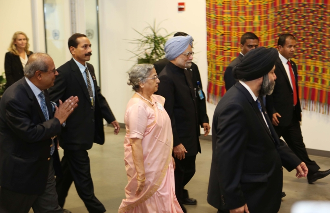 Dr Singh arrives at the UN headquarters with his wife Gursharan Kaur
