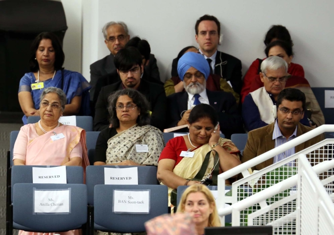 Dr Singh's wife Gursharan Kaur and , Deputy Chairman of the Planning Commission Montek Singh Ahluwalia at the UN