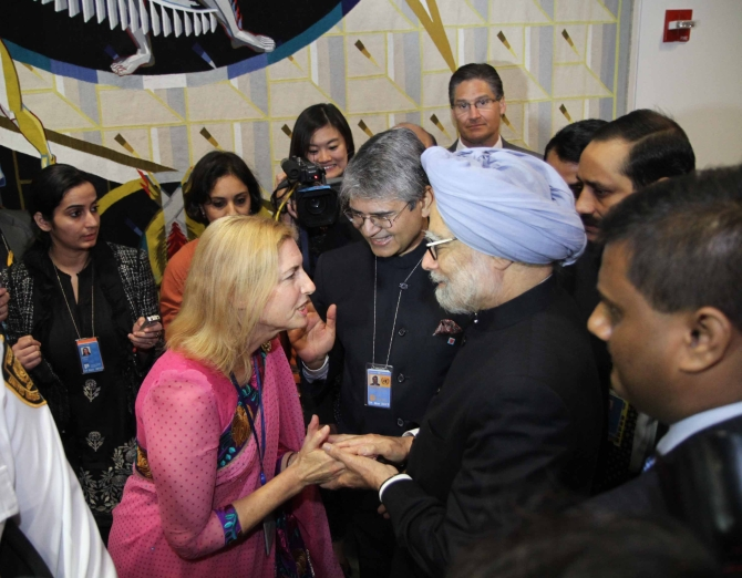Dr Singh interacts with staff ahead of his address at the UN