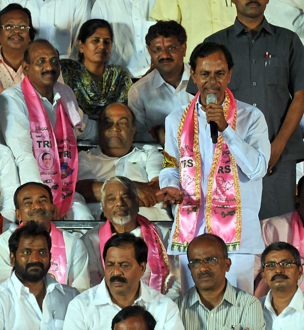 Telangana Rashtra Samiti president K Chandrasekhar Rao (with microphone) at the rally
