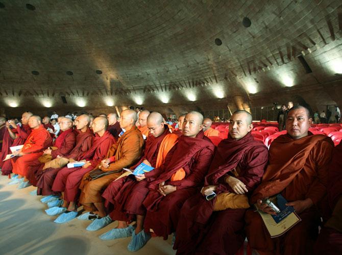 Buddhist monks at the Golden Vipassana Pagoda at Gorai, outside Mumbai
