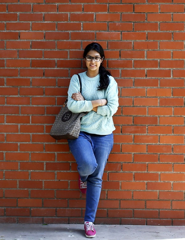 Urvashi Kapila poses for a picture at her college campus in New Delhi
