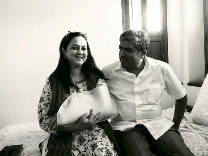 Nandan Nilekan with his 'most passionate volunteer' and his strength, Rohini Nilekani.