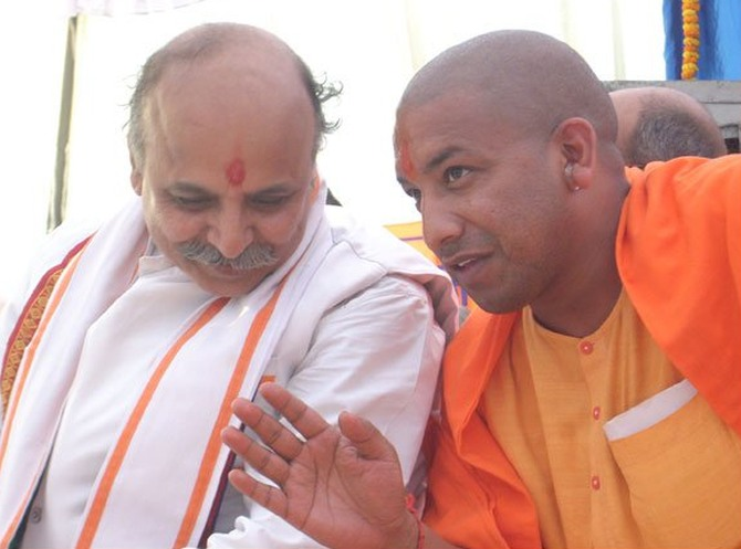Yogi Adityanath with VHP International Chief Pravin Togadia