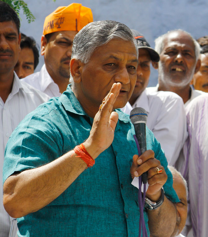 Former Army Chief General V K Singh campaigns in Ghaziabad.