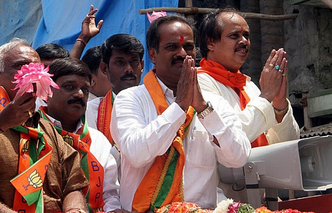 BJP's PC Mohan campaigns in Bangalore Central.