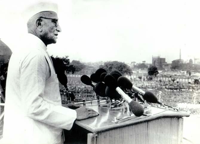Prime Minister Morarji Desai at the Red Fort, August 15, 1977.