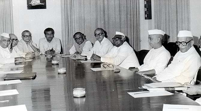 Prime Minister Morarji Desai with his Cabinet ministers and Opposition leaders in Parliament house, June 18, 1977.