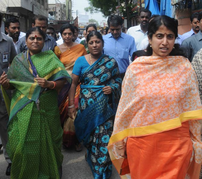 YSR chief Jagan Mohan Reddy's wife Bharathi (R)