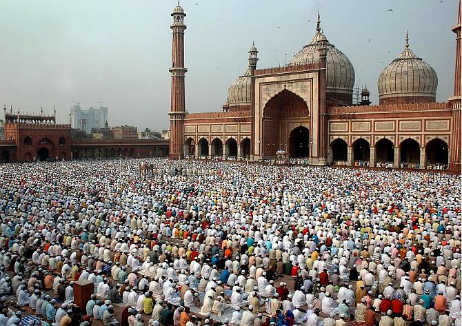Muslims offering prayers at Delhi's Jama Masjid.