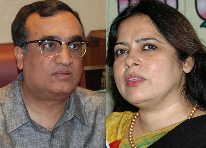 Left: Congress candidate Ajay Maken; Right: The BJP's Meenakshi Lekhi.