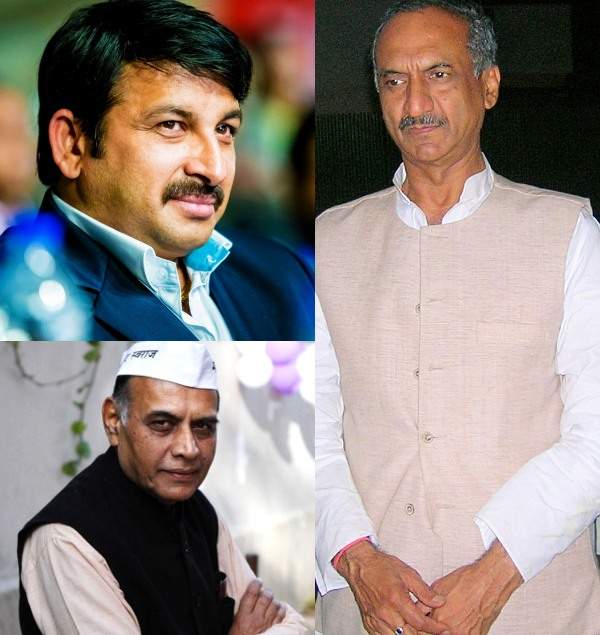 Clockwise: The Congress MP from Northeast Delhi, J P Aggarwal; AAP candidate Professor Anand Kumar, and BJP candidate Manoj Tiwari.