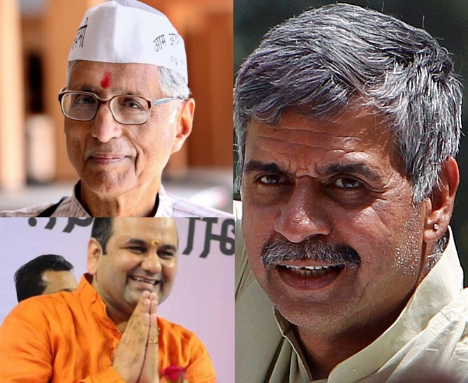 Clockwise: The Congress MP from East Delhi Sandeep Dikshit; BJP candidate Maheish Girri, and the AAP's Rajmohan Gandhi.