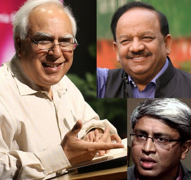 Clockwise: The BJP candidate from Chandni Chowk Dr Harshvardhan; the AAP's Ashutosh, and incumbent Congress MP Kapil Sibal.
