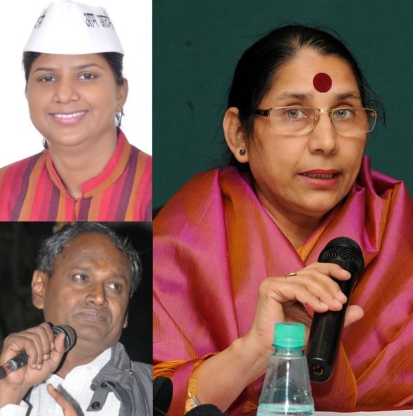Clockwise: The Congress MP from Northwest Delhi Krishna Tirath; the BJP's Udit Raj and the AAP's Rakhi Birla.