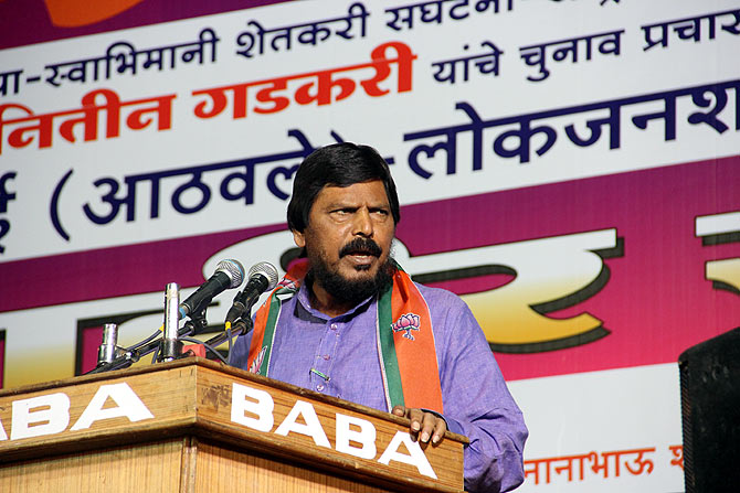Republican Party of India-Athawale leader Ramdas Athawale at the rally in Nagpur's Dalit quarter.