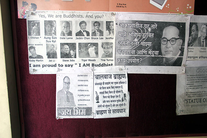Notices at the Ambedkari Prabhodhan Manch, a gathering place for Buddhist activists in Indora, north Nagpur.