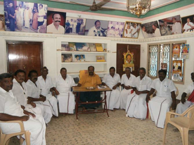 Dravida Munnetra Kazhagam district Secretary K P Periyakaruppan holds an election meeting with village union secretaries.