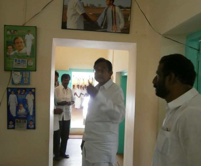 Finance Minister P Chidambaram at the Karaikudi Congress office.