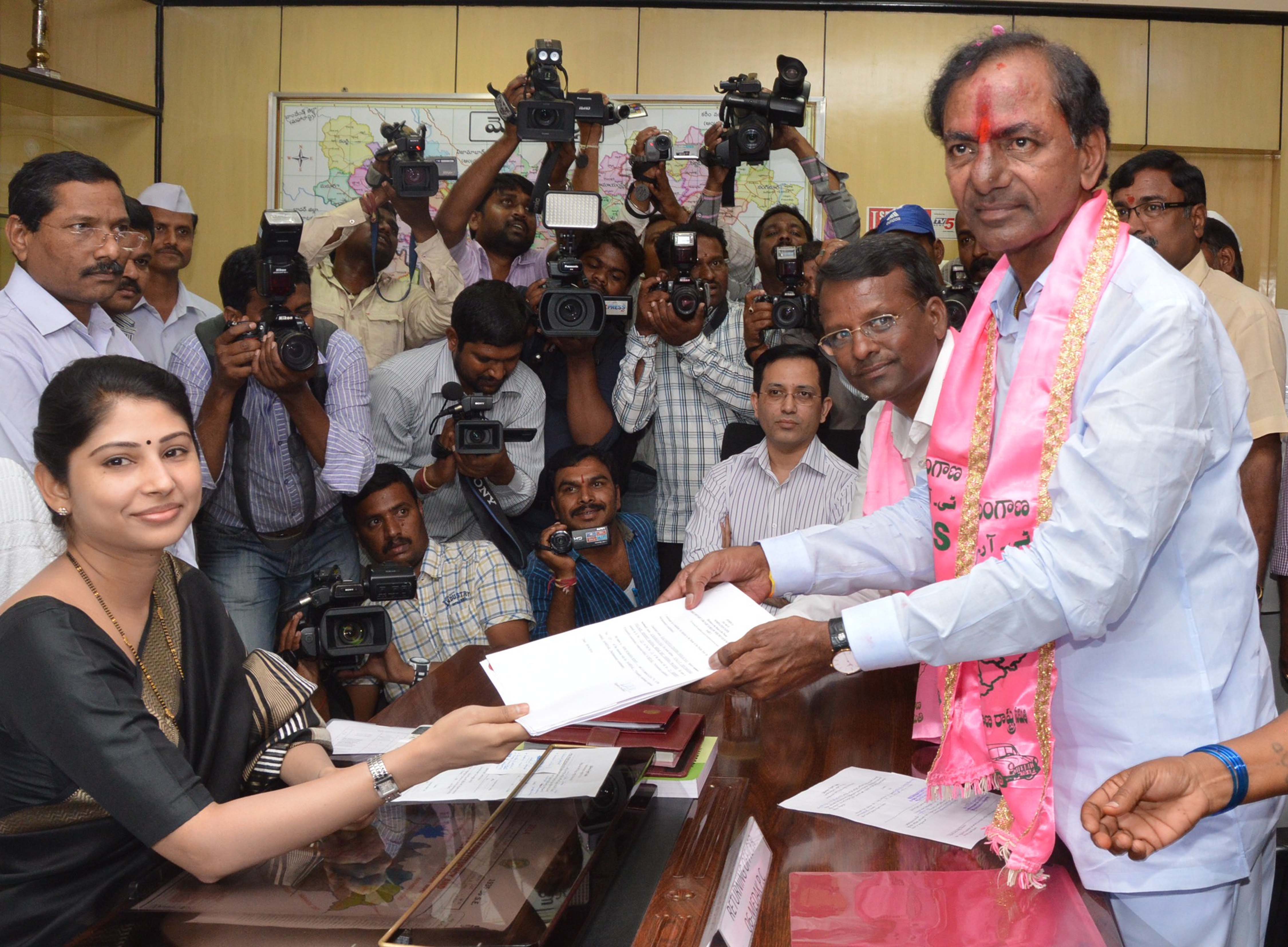 K Chandrashekara Rao files his nomination from Medak