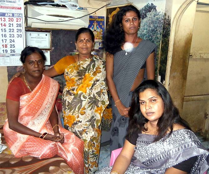 Bharathi Kannamma (seated, left) is contesting the elections from Madurai.