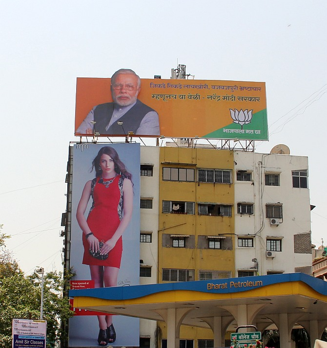 A Narendra Modi hoarding in Nagpur city.