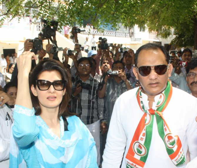 Congress candidate from Rajasthan's Tonk-Sawaimadhopur constituency with his wife Sangeeta Bijlani