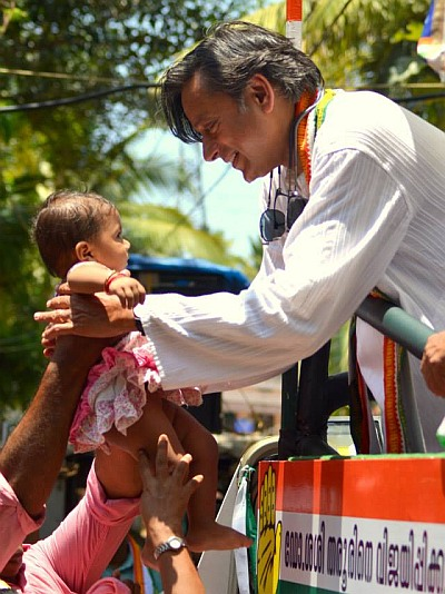 Shashi Tharoor on the campaign trail