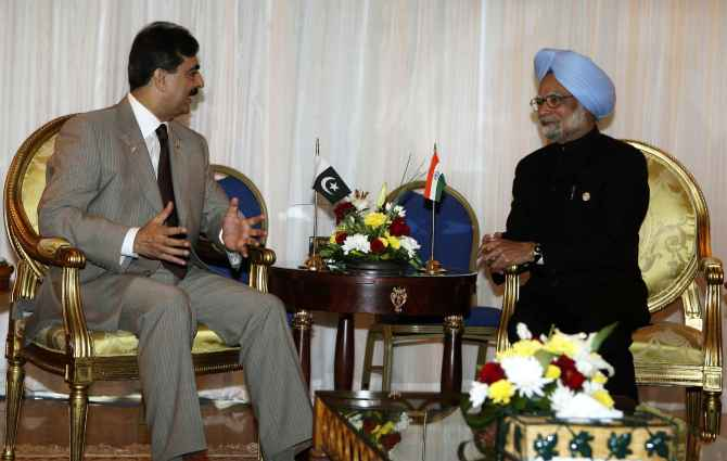 PM Singh speaks with his then Pakistani counterpart Yusuf Raza Gilani at Sharm-el-Sheikh, Egypt, in July, 2009