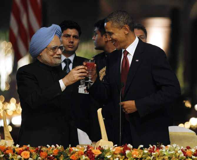 PM Manmohan Singh with US president Barack Obama in New Delhi