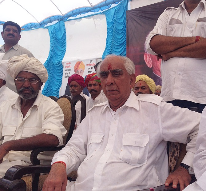 Jaswant Singh at the rally at Jaisalmer Fort.