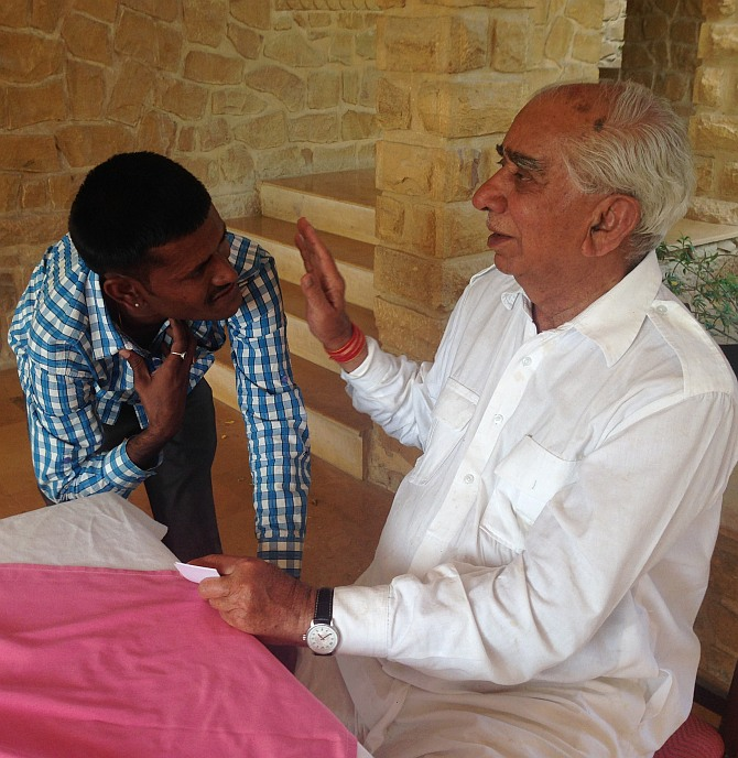 Jaswant Singh interacts with a supporter.