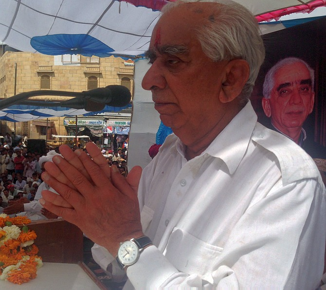 Jaswant Singh has an emotional moment at the Jaisalmer fort rally.