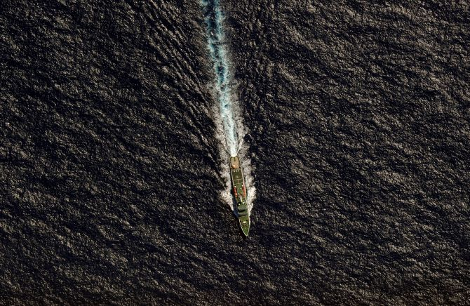 The Chinese Maritime Safety Administration vessel Hai Xin 01 is seen from a Royal New Zealand Air Force (RNZAF) P-3K2 Orion aircraft in the southern Indian Ocean, as the search continues for missing Malaysia Airlines flight MH370.