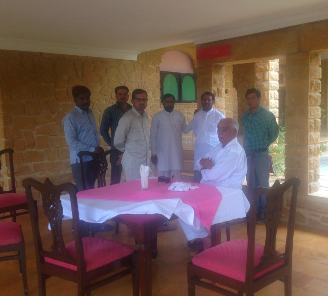 Jaswant Singh with party workers at the Taj Gateway Rawalkot Hotel in Jaisalmer.