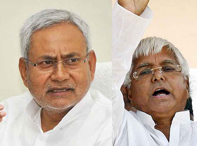 JD-U leader and Bihar Chief Minister Nitish Kumar (left) and RJD chief Lalu Prasad Yadav