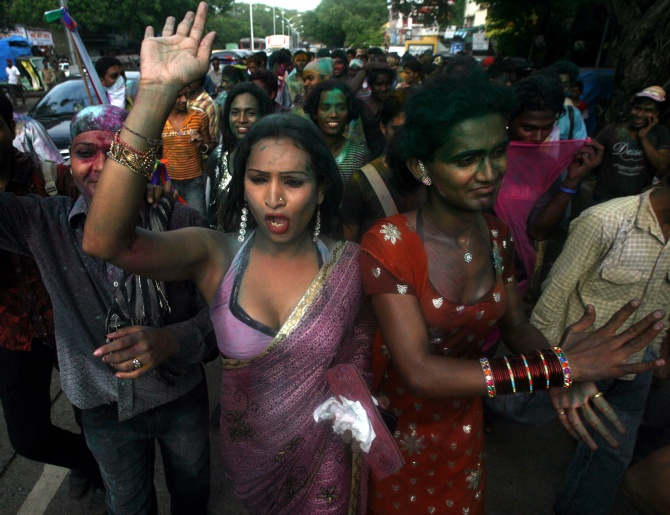 Transgenders attend a rally in Mumbai.