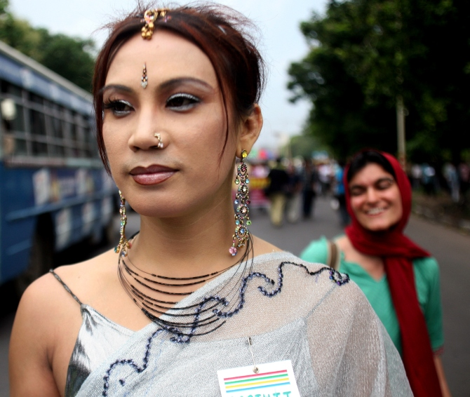 Gauri, a transgender activist, attends a rally to celebrate 'Rainbow Pride Week' in Kolkata.