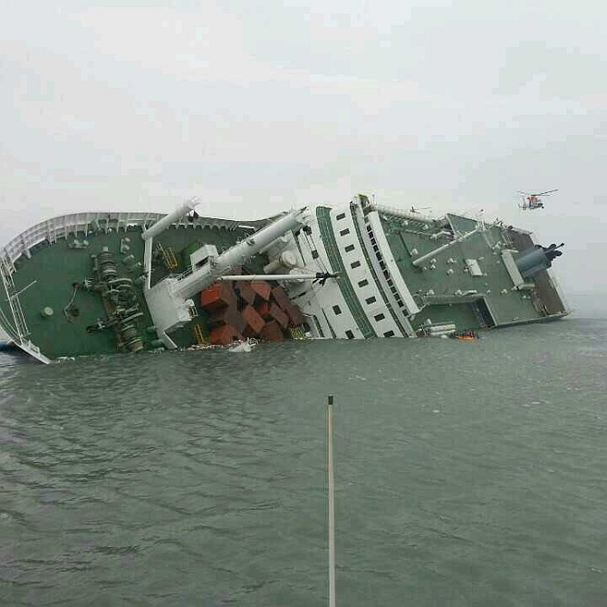 In this handout image provided by the Republic of Korea Coast Guard, a passenger ferry sinks off the coast of Jindo Island in Jindo-gun, South Korea