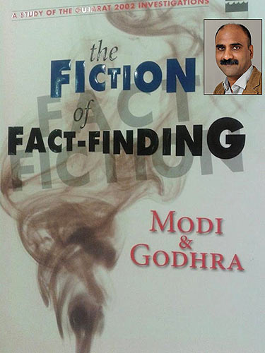 The cover of Fiction Or Fact-Finding: Modi & Godhra Inset: Author Manoj Mitta