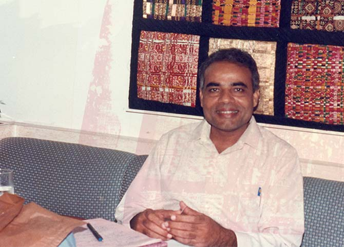 Narendra Modi, then an RSS karyakarta, on a visit to New York in the early 1990s. Photograph: India Abroad archives