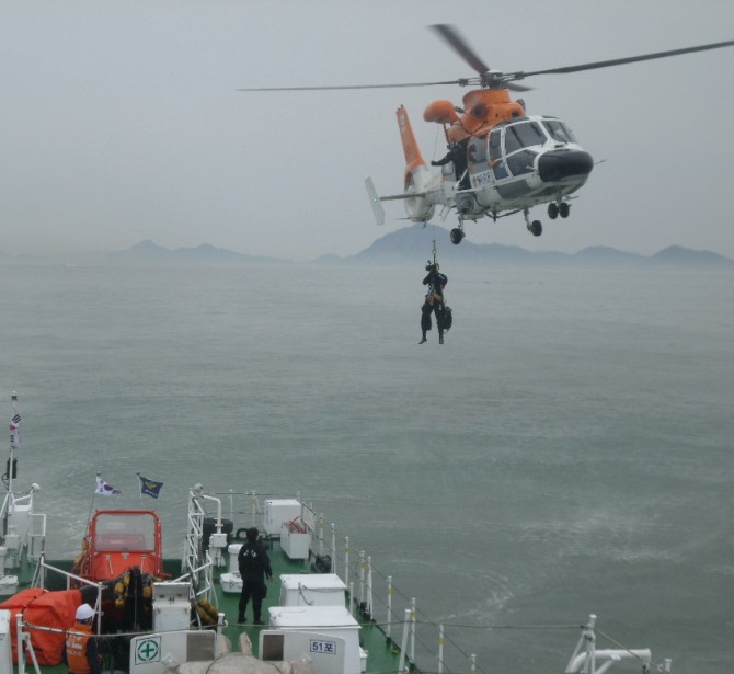 In this handout image provided by the Republic of Korea Coast Guard, the rescue work by members of the Republic of Korea Coast Guard continues around the site of ferry sinking accident off the coast of Jindo Island