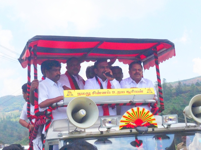 A Raja addresses a gathering of villagers from the campaign vehicle. He must have addressed at least 50 small meetings from the van on Saturday.