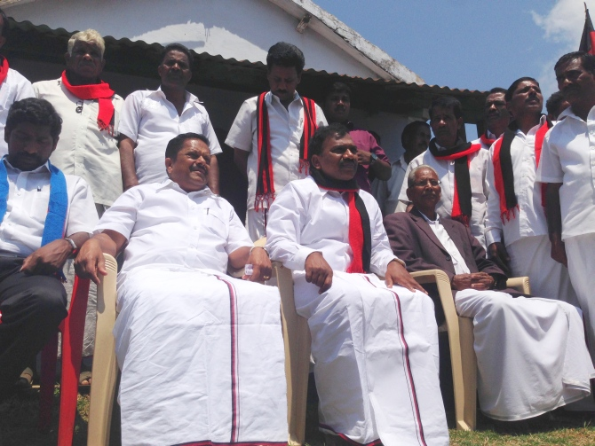 A Raja meets Badaga tribals while campaigning in Ooty. The Badagas are estimated to form 22 per cent of the electorate in the Nilgiris Lok Sabha constituency.
