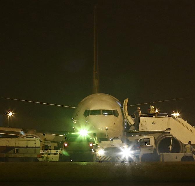 Malaysia Airlines flight MH192 from Kuala Lumpur to Bangalore is seen at Kuala Lumpur International Airport in Sepang outside Kuala Lumpur
