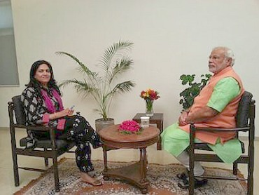 Smita Prakash with Narendra Modi during the interview