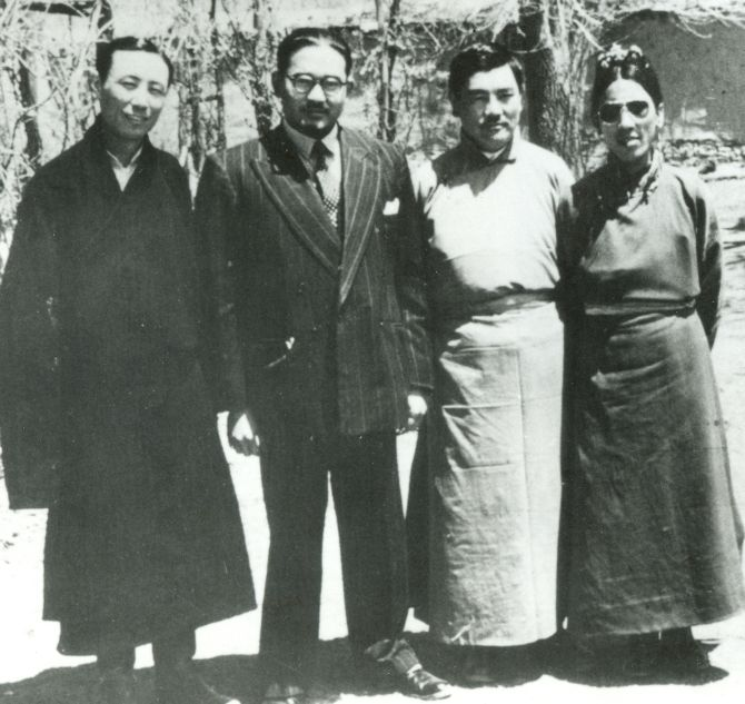 S Sinha, second left, head of the Indian Mission from 1950 to 1952 before it was downgraded, with officials of the Tibetan government in Lhasa.