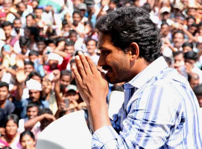 Y S Jaganmohan Reddy addresses a rally in Kadapa, where his family has unprecednted influence.